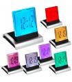 Настолен LED часовник светещ в 7 цвята