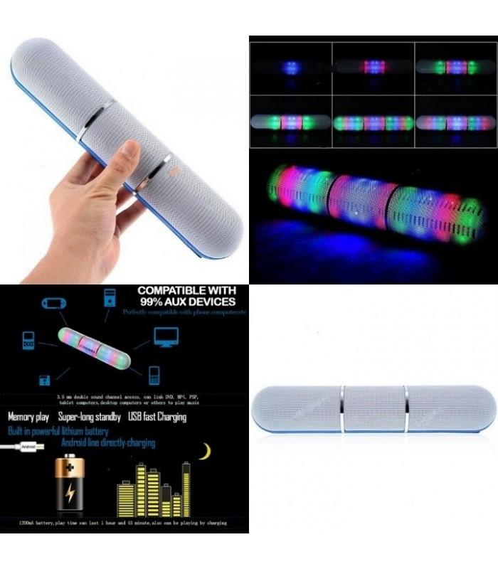 Светещ Bluetooth спикър Pill с USB,FM,TF карта