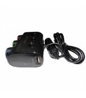 Троен разклонител запалка за кола Olesson + 2бр. USB