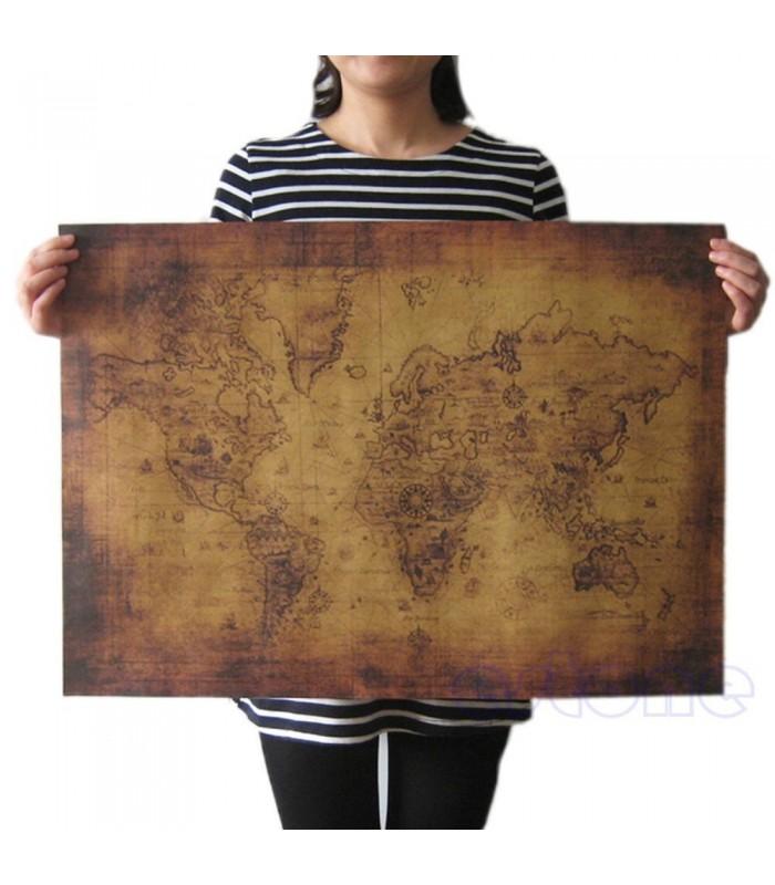 Винтидж - ретро постер карта на света