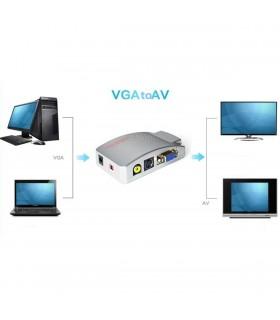 Конвертор от VGA към TV, вход VGA, изходи RCA (чинч) и S-VIDEO