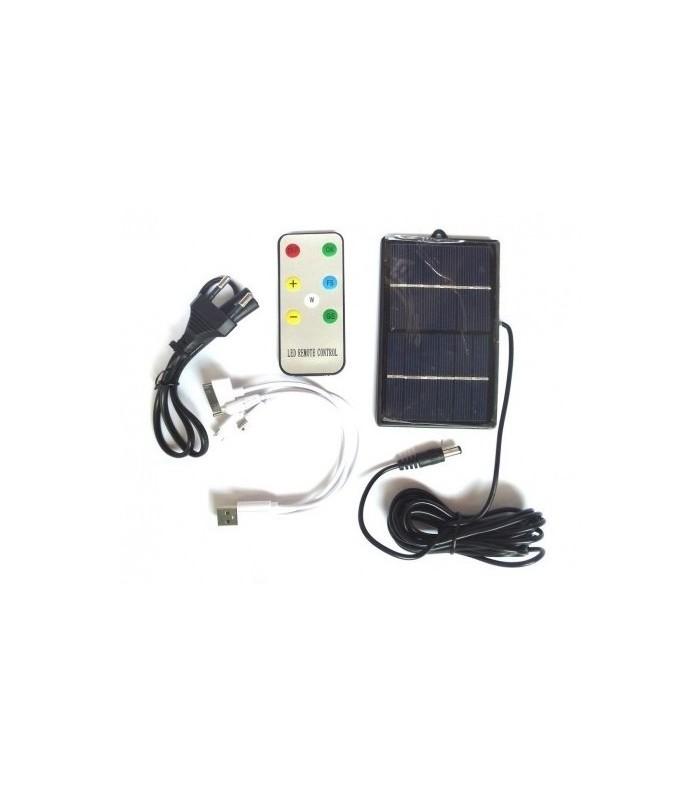Лампа с акумулаторна батерия, соларен панел и USB зарядно